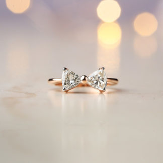 Bow Two Stone Moissanite Ring