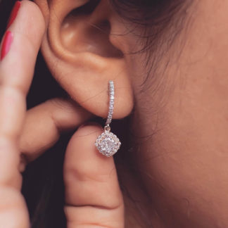 Cushion Carve Lab Diamond Earring