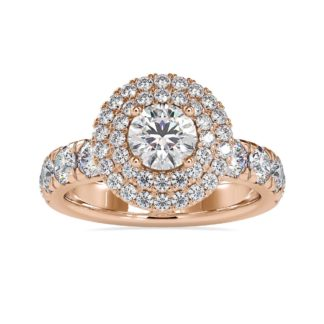 Round Dual Halo Engagement Ring