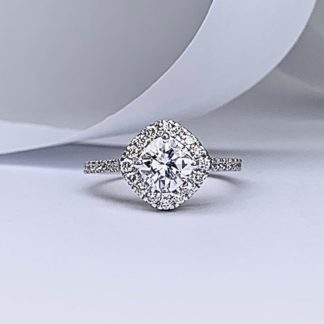 Cushion Halo Moissanite Ring