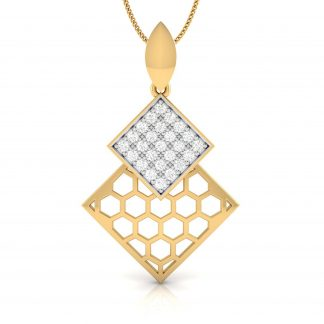 Concave Dual Square Lab Diamond Pendant