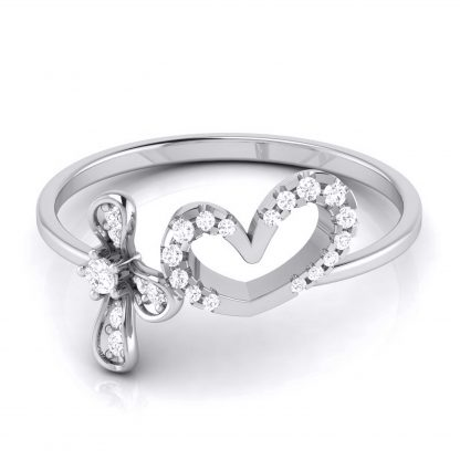 Heart and Leaf Lab Diamond Ring