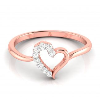 Cute Half-n-Half Lab Diamond Heart Ring Bestseller
